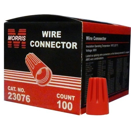 MOR23076 SCREW-ON WIRE CONNECTORS P6 RED BOXED 100 PACK, MORRIS PRODUCTS