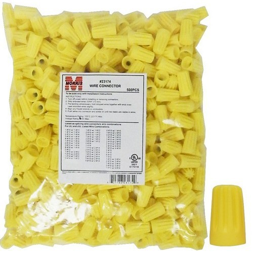 MOR23174 SCREW-ON WIRE CONNECTORS P4 YELLOW BAGGED 500 BULK PACK, MORRIS PRODUCTS