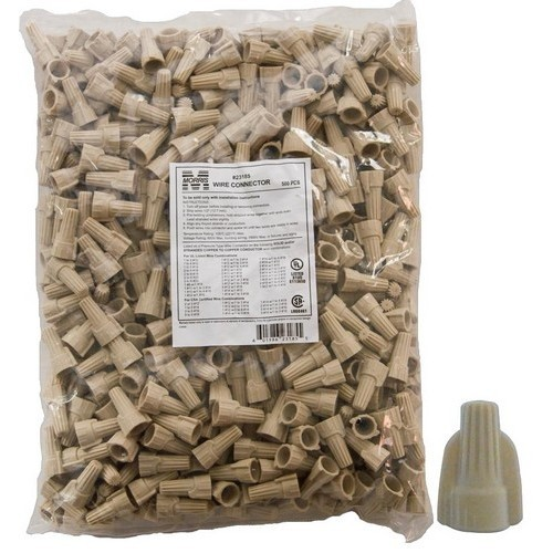 Twisted Wing Connectors Tan Bagged 500 Bulk Pack