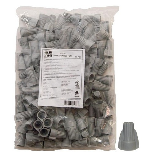Twisted Wing Connectors Gray Bagged 100 Bulk Pack
