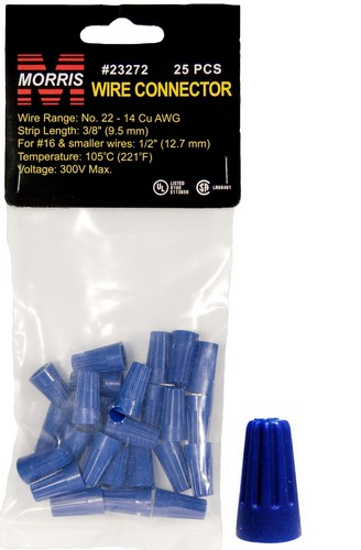 23272 Screw-On Wire Connectors P2 Blue Hanging Bag 25 Pack