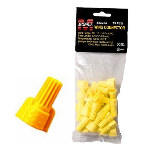 Winged Twist Connectors Yellow Hanging Bag 25 Pack