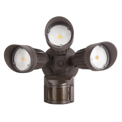 72570A LED Motion Activated Security Flood Light 3 Head 30 Watts Bronze 5000K