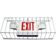 Dual Exit Emergency Lights.Wire Guard Combo Exit and Emergency Lights