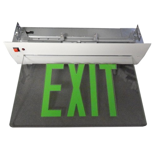 Compact Morris Products LED Exit Sign Black Housing Recessed Mount Edge Single Sided Legend Energy Efficient Low-Profile Design Red on Clear Panel High Output 1 Count
