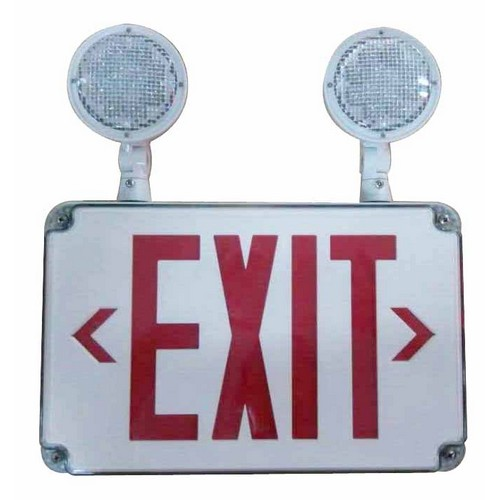 led wet location combo exit signs & emergency light