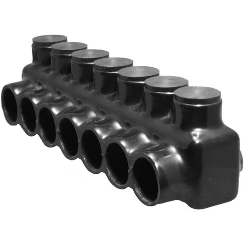 Black Insulated Multi-Cable Connector - Single Entry 7 Ports 1/0 - 14